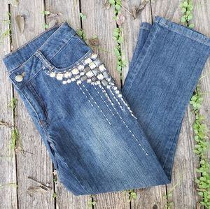 Boston Proper 2 Cropped Jeans Blinged Jeweled
